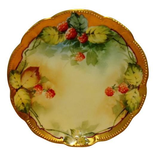 "Beautiful Limoges Plate Hand Painted with Ripe Red Raspberries by Pickard Studio Artist ""George Stahl"" ~ A. KLINGENBERG & CHARLES L. DWENGER ( AKD  ) Limoges France  / Pickard Studios Chicago IL 1903-1905"
