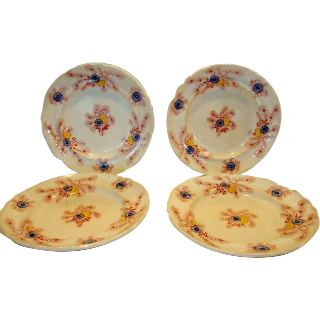 4 Amazing Earthenware Plates Over 150 years old with Transfers of colorful flowers ~   Pattern~ Wood & Challinor  ~Tunstall Staffordshire England 1828 - 1843