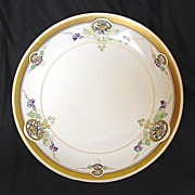 "Pickard Studio Hand Painted Art Nouveau  Purple Morning Glory Design Plate 8 1/2"" – 1912-1918"