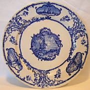 Beautiful Earthenware Blue & White Plate with Ships and Windmills ~ DELFTLAND ~ Brown-Westhead, Moore Cauldon England 1862-1904