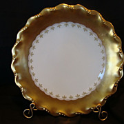 Exquisite Limoges Porcelain Cabinet Plate – WIDE GOLD Rim on White ~ Coiffe Limoges France / Latrille Freres 1891-1914