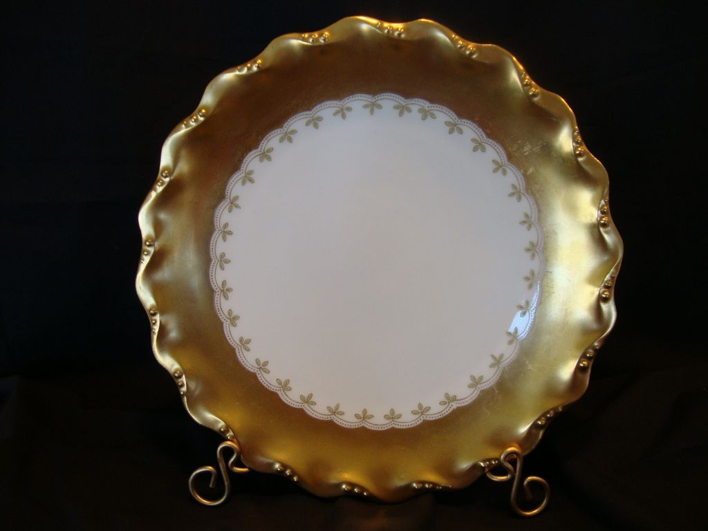 Exquisite Limoges Porcelain Cabinet Plate – WIDE GOLD Rim on White ~ Coiffe Limoges France / Latrille Freres 1891-1914