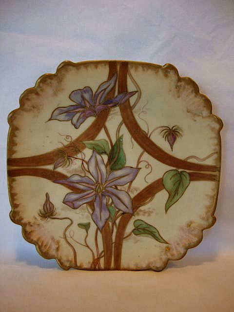 Nice Cabinet Plate ~ Hand Painted with Purple Clematis ~ Unmarked
