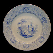 Wonderful English Plate  ~ Blue Transferware ~ Non-Pareil Pattern ~ T&J MAYER Staffordshire England 1838-1842