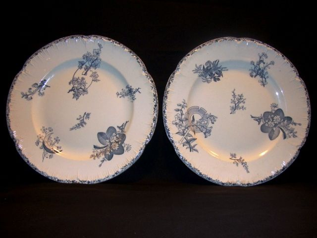 "2 ~ Wonderful 10 1/2"" French Blue Faience Plates ~ Grand Depot Porcelaines Faiences Paris / Marseille France 1862-1920"