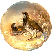 Gorgeous Limoges Porcelain 11 1/2'' Game Charger / Plaque ~ Hand Painted with Pair of Quail ~ MAVALEIX & GRANGER (Limoges, France) - ca 1914 - 1938