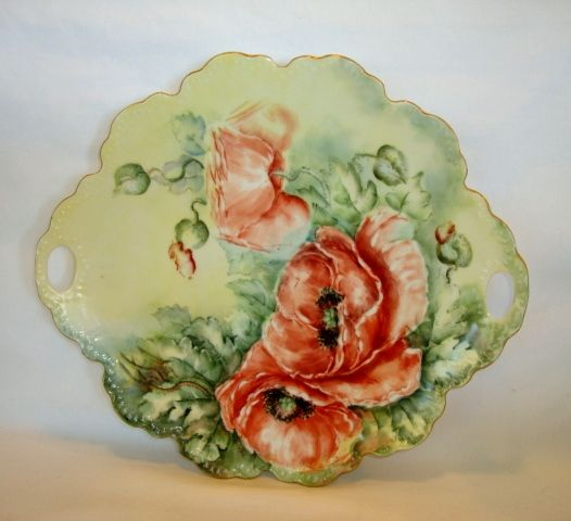 "Beautiful 12"" Porcelain Cake Plate ~ Hand Painted with Orange Poppy Flowers ~ Signed Hulette  ~ Malmaison Mold~ Rosenthal Bavaria 1938-1952"