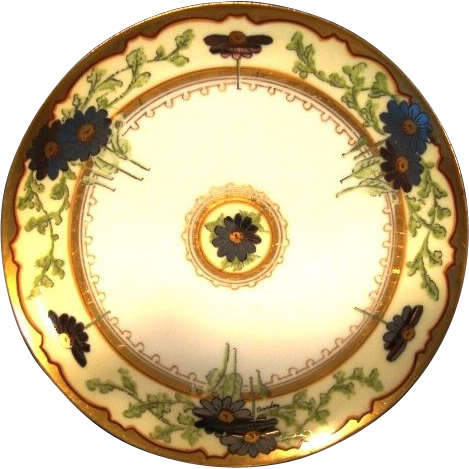 """Awesome Limoges Stouffer Decorated Plate ~ Hand Painted with Platinum Daisy Flowers ~ Signed """"Bordos"""" Haviland France / Stouffer Studios Chicago Il. 1906-1914"""