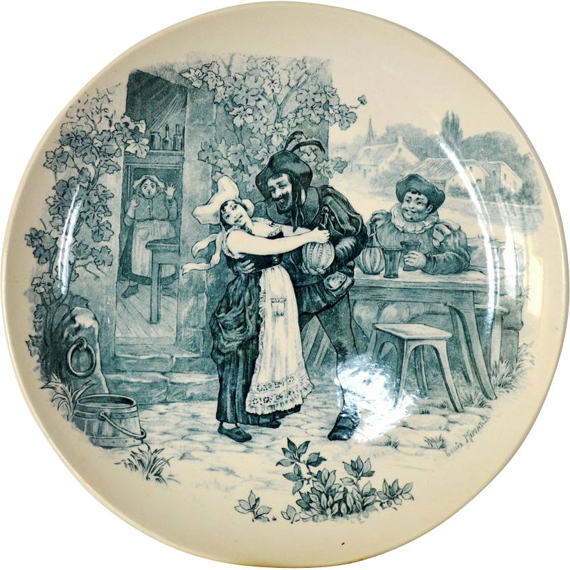 Wonderful 11inch French Tavern Scene Plate / Wall Plaque by Louis Mimard ~ Men at Tavern Drinking ~ H Boulenger & CO France 1860 - 1910
