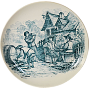 "Wonderful 11"" French Tavern Scene Plate / Wall Plaque by Louis Mimard ~ Men at Tavern Drinking ~ H Boulenger & CO Choisy le Roi France 1860 - 1910"