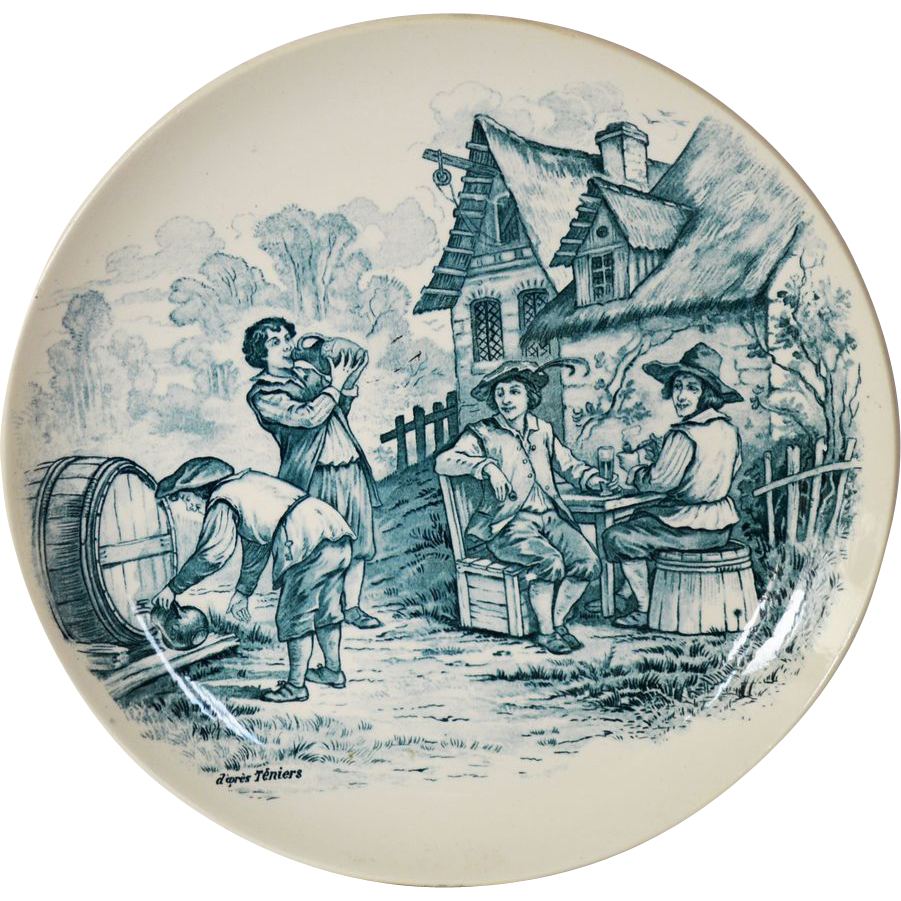 "Wonderful 11"" French Tavern Scene Plate / Wall Plaque by Louis Mimard ~ Men at Tavern Drinking ~ H Boulenger & CO France 1860 - 1910"
