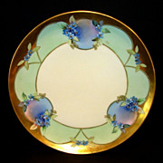 "Amazing Limoges Porcelain Plate ~ Hand Painted with Blue Flowers ~ White's Art Company Decorated~ Signed  ""Blet"" ~  Haviland Limoges France  1914-1923"