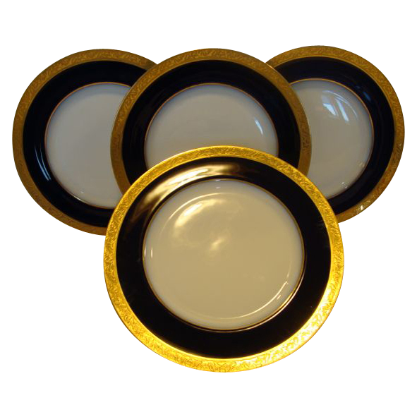 "Set of 4 Gorgeous Limoges Porcelain 8 5/8""  Plate Set ~ Cobalt Blue ~ Gold Encrusted Rim ~ M Redon & PL Limoges, France 1905-1930."