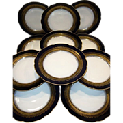 "REDUCED!! 9 1/2"" Dinner / Salad Plate Set ~ 11 Limoges Porcelain ~ Cobalt Blue ~ Gold Encrusted Rim ~ CFH GDM ~ CHARLES FIELD Haviland -  Gerard,  Dufraisseix, And Morel Limoges France 1870-1890"