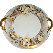 Beautiful Limoges Porcelain Cake Plate ~ Open Handled ~ Hand painted with Yellow Roses ~ Haviland France 1891-1935 - Red Tag Sale Item
