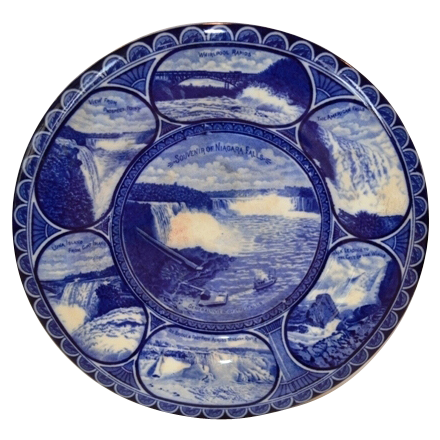 "Beautiful Vintage 10"" Souvenir of Niagara Falls Plate ~  Earthenware flow blue ~R&M CO The Rowland & Marsellus Co. Staffordshire England 1893-1938 for CA Miller"