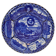 "Beautiful Staffordshire Dark Blue ""Landing of Hendrick Hudson"" 10"" Souvenir Plate  ~R&M CO The Rowland & Marsellus Co. Staffordshire England 1893-1938"