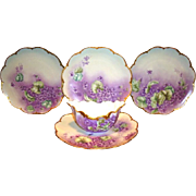 Awesome Limoges Porcelain Dessert Set ~ 4 Plates and Dish ~ Hand Painted with Purple Violets ~ Haviland Limoges France / Delinieres & Co Limoges France 1893-1930