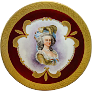 Exquisite Portrait Plate of Marie Antoinette ~ Hand Painted Limoges Porcelain ~  Gold Encrusted Rim ~ Bawo & Dotter Elite Works Limoges France 1900+