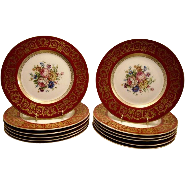 "12 - Awesome 11"" Dinner Plates ~ Bavaria Porcelain ~ Dresden Style Flowers ~ KRAUTHEIM & ADELBERG Selb Bavaria (Germany) - ca 1922 - 1945"