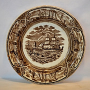 "Wonderful 9"" Earthenware Plate ~ American Marine Pattern ~ George L Ashworth Brothers 1861-1890"