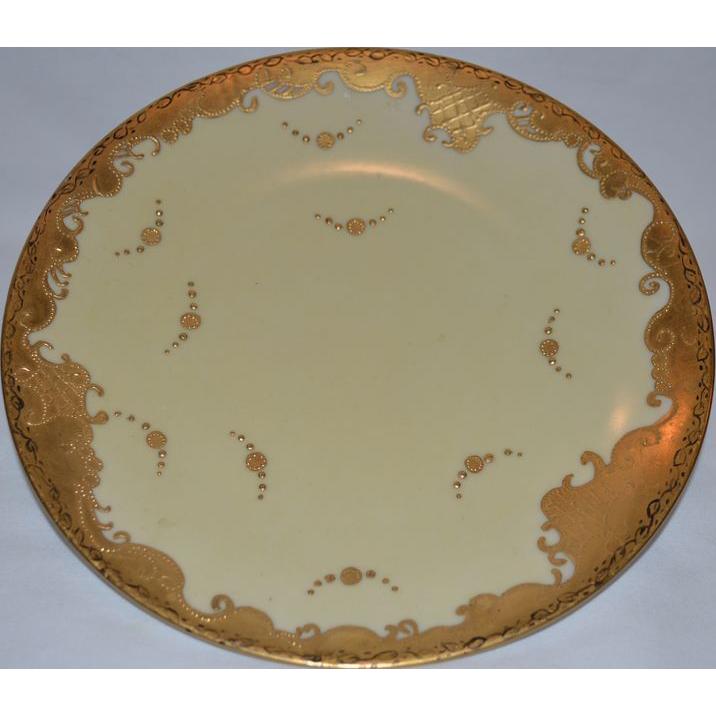 Gorgeous Limoges Porcelain Cabinet Plate ~ Raised Gold Paste ~ Tressemann & Vogt Limoges France 1892-1907
