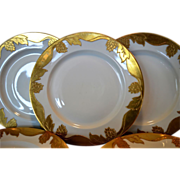 "Set of 5 Awesome 10 ½"" Dinner Plates ~ Haviland Limoges ~ Gold Encrusted Hops and Leaves ~ Haviland Limoges France circa 1894-1931."