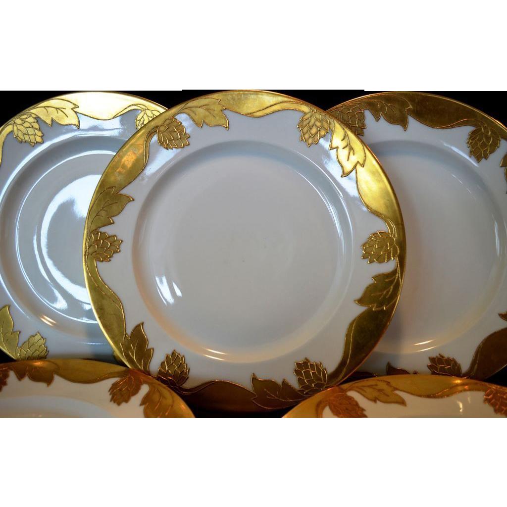 """Set of 5 Awesome 10 ½"""" Dinner Plates ~ Haviland Limoges ~ Gold Encrusted Hops and Leaves ~ Haviland Limoges France 1894-1931"""