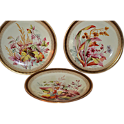 Set of 3 Gorgeous Dinner Plates ~ Factory Decorated with Foliage and Berries ~ Royal Worcester England for Bailey, Banks & Biddel 1885 - Red Tag Sale Item