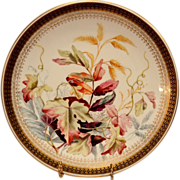 Gorgeous Dinner Plate ~ Factory Decorated with Foliage and Berries ~ Royal Worcester England  1885