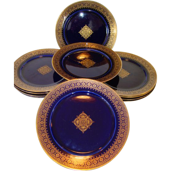 "Set of  (11) Eleven Awesome French Faience Cobalt & Gold Filigree 8 1/2"" Plates ~ Utzschneider & Co Sarreguemines France 1889 -1892"