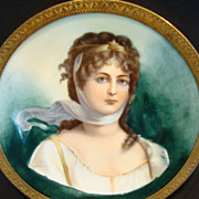 "Extraordinary Portrait of Queen Louise of Prussia ~ 4 3/8"" W Miniature ~Framed Metal Holder ~ Limoges Porcelain ~ Delinieres & Co Limoges France 1879-1900"