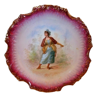 "Awesome 14"" French Porcelain Charger / Plaque ~ Woman with a Fencing Sword ~ Narbbone France"