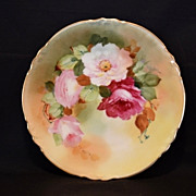 Beautiful Pickard Decorated Plate~ Limoges Porcelain ~ Hand Painted with Pink and Red Roses ~ Artist  Signed F. Walters ~ A. KLINGENBERG & CHARLES L. DWENGER / Pickard Studios Chicago Il 1890-1910 - Red Tag Sale Item