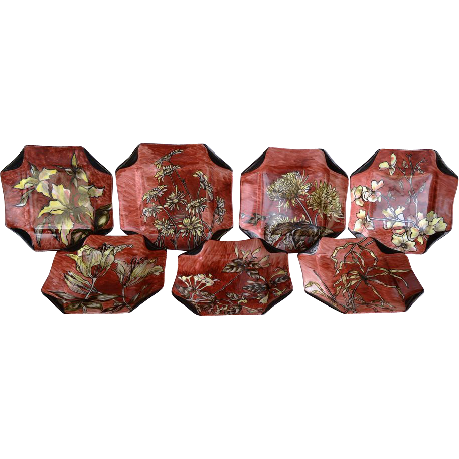 """Napkin / Handkerchief Fold Plates 8 5/8"""" /  9""""~Exquisite Set of 7 Haviland Limoges ~ Hand Painted with Beautiful Flowers ~ Signed MLP Greenway 1888 ~ Haviland & CO Limoges France 1876-1889"""