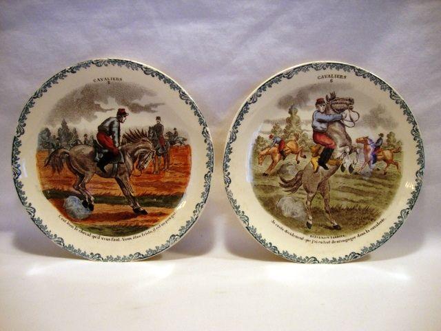 2 Great Horse Plates ~ Cavalier Series #2 #6 ~  Hautin & Boulengar ~ H B & Cie ~ Choisy Le Roi France ~1836 +