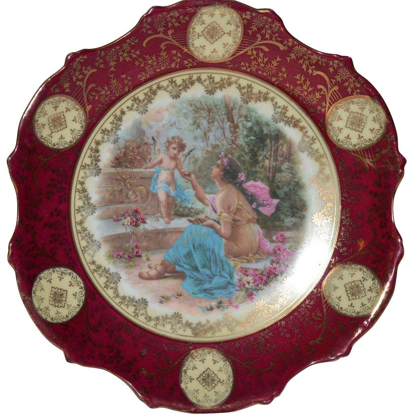 "Gorgeous 10"" Porcelain Plaque / Plate with Cherubs and Goddess ~ Victoria Porcelain Schmidt & Co Bohemia 1904-1918"