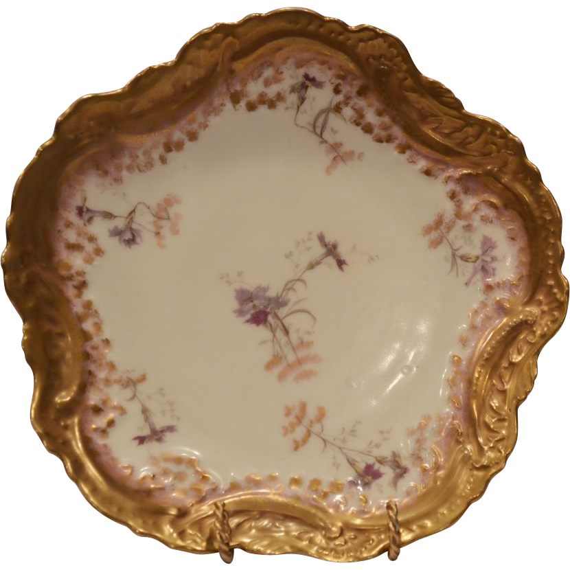 Exquisite Limoges Porcelain Cabinet Plate ~ Purple Flowers ~ Ornate Rim ~ Vignaud Frères Limoges France 1911+