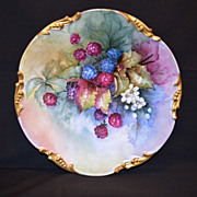 Delicious Hand Painted Blackberries ~ Limoges Porcelain Plate ~  Jean Pouyat Limoges France 1908
