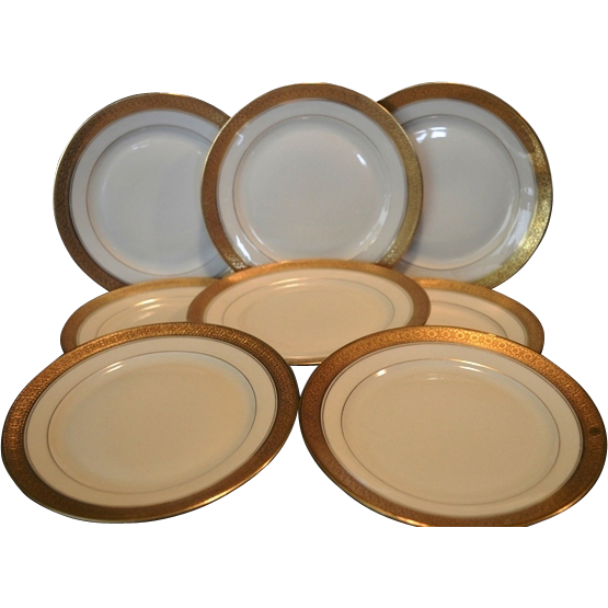 set of 8 u2013 6 18u201d bread u0026 butter horderves plates gold encrusted edgegold rings ivory background pattern premier rosenthal bavaria for - Horderves Plates