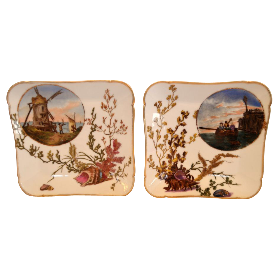 2 Awesome Limoges Porcelain Square Plates ~ Hand Painted with Sea Scenes ~  Charles Field Haviland / Gerard Dufraisseix & Morel Limoges France 1892