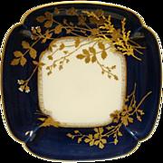Fantastic Limoges Porcelain Cobalt Blue Plate ~ Raised Gold Floral & Butterfly Designs ~ Hand Painted ~ Delinieres & CO /Tressemann & Vogt Limoges France 1879-1893