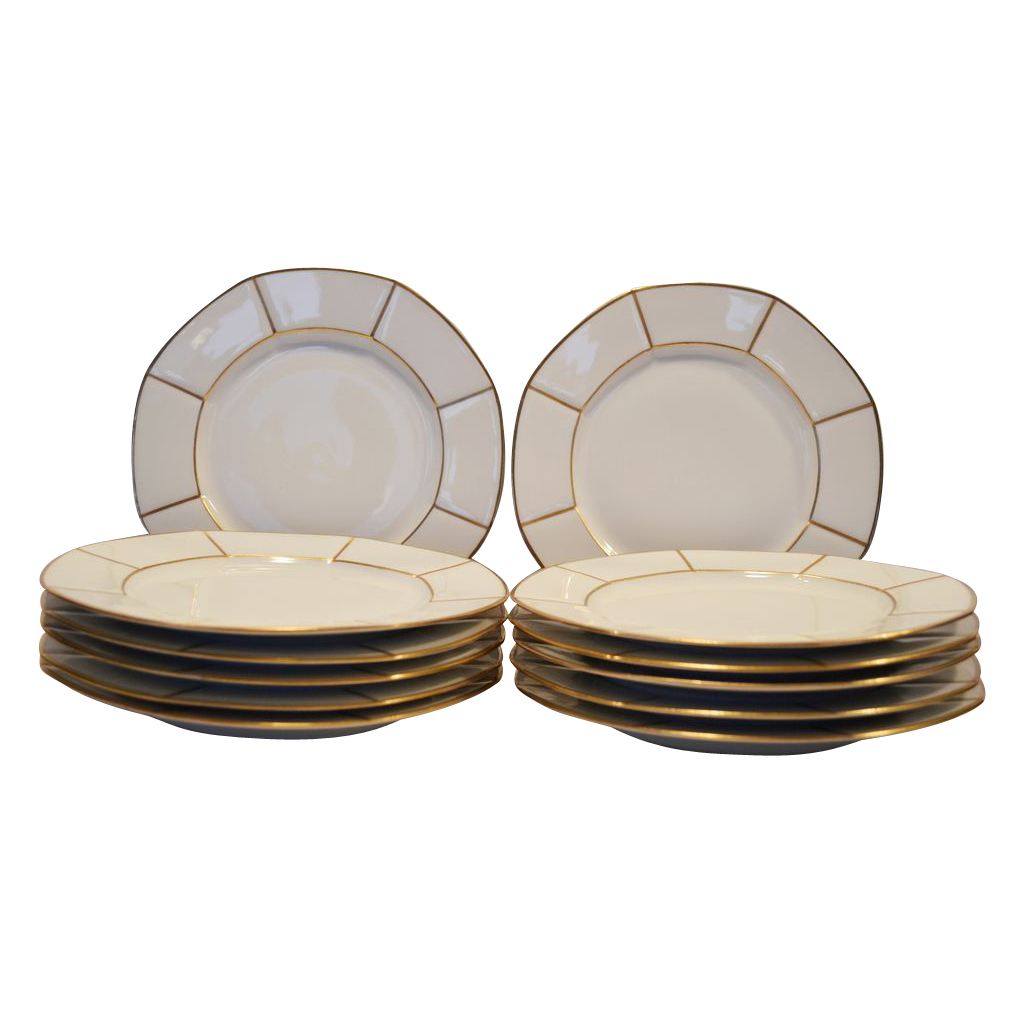 "12 Gorgeous 8 ¾""  Limoges Porcelain Dinner / Salad Plate Set ~ White with Gold Spokes ~ Jean Pouyat Limoges France for Wells-Burrage Co Boston"