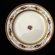 50% OFF! Elegant Limoges Porcelain Cabinet Plate ~ Double Gold Bands ~ Pink & Yellow Roses – B & H Limoges (Blakeman & Henderson)