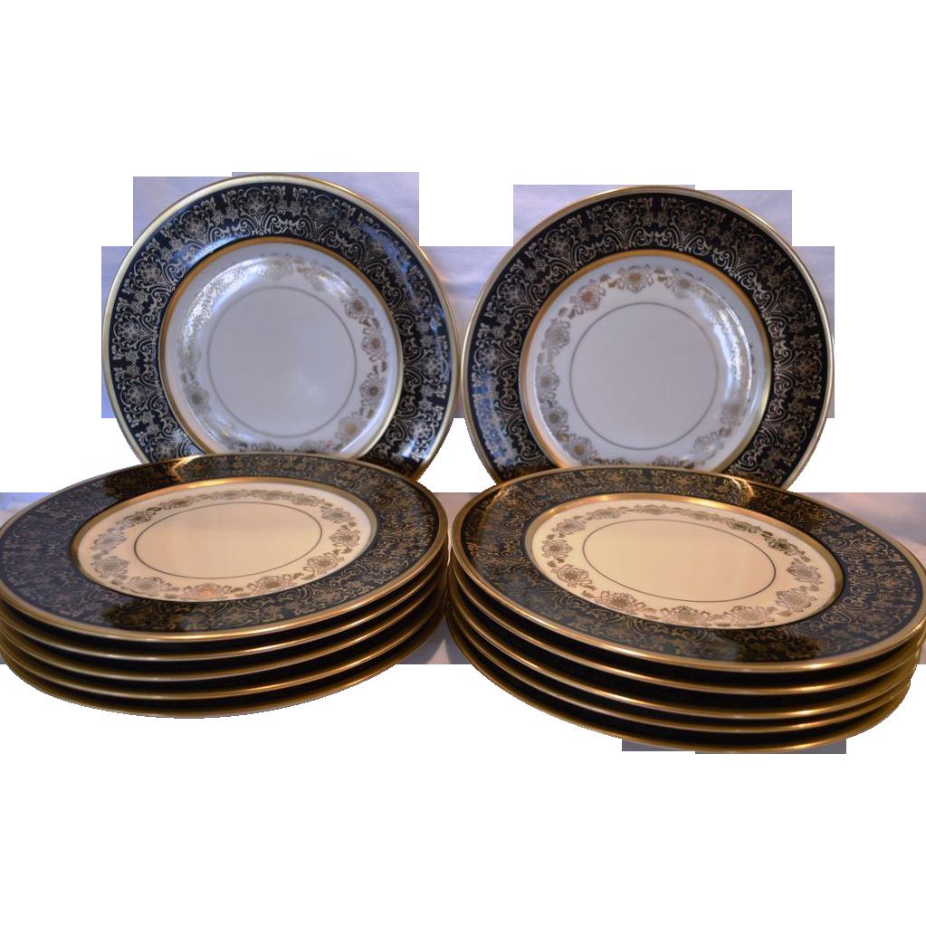 "Set of 12 Gorgeous Porcelain Dinner Plates 10.8""~ Black & Gold – H & CO SELB HEINRICH & CO / Pickard Studios Chicago IL 1930-1938"