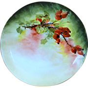 Beautiful Limoges Porcelain Cabinet Plate ~ Hand Painted with Vibrant Currants ~ Artist Signed ~ Jaegers & Co Bavaria / Caines Studio France 1902+