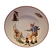 Comical French Faience Plate ~ Hunter, Hunting Dot, Rabbit, Lion and Wine ~ Médailles d'or ' ~ HAUTIN & BOULANGER (or BOULENGER) (Choisy-le-Roi, France) - ca 1836 - 1880s