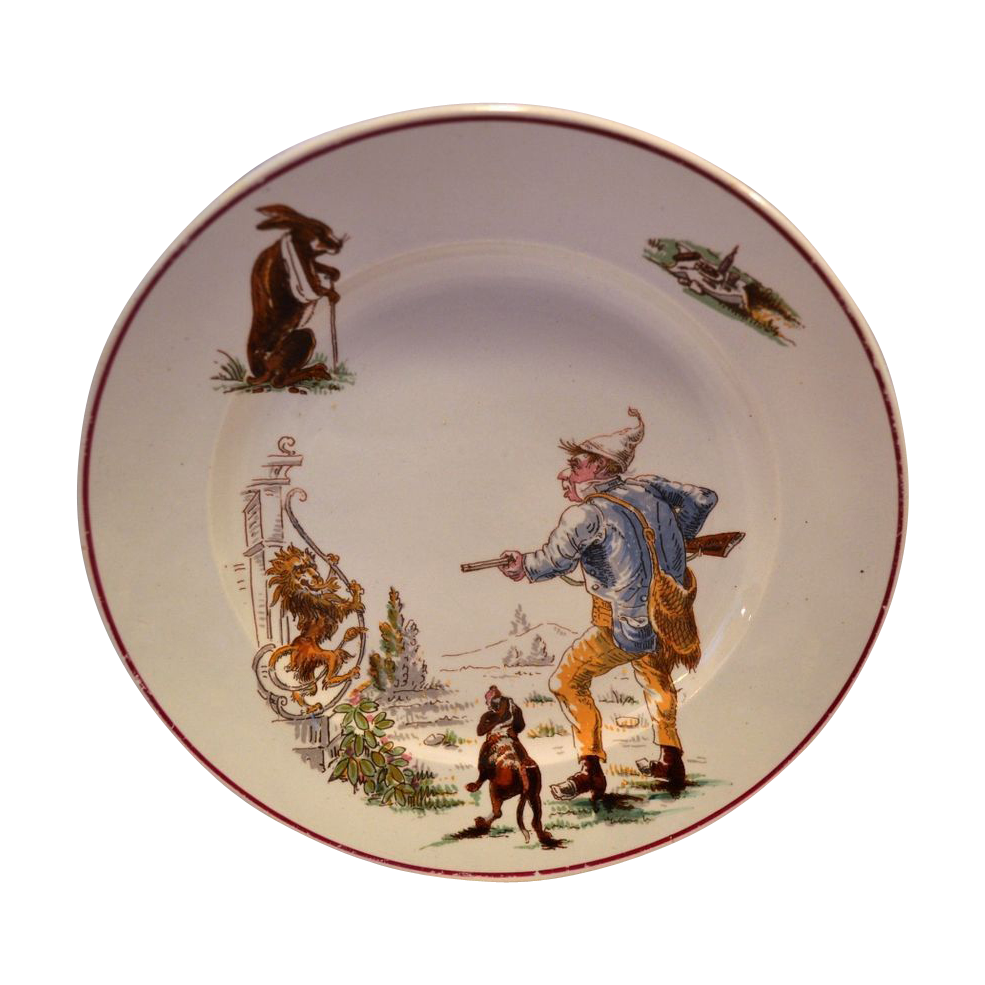 50% OFF Comical French Faience Plate ~ Hunter, Hunting Dot, Rabbit, Lion and Wine ~ Médailles d'or ' ~ HAUTIN & BOULANGER (or BOULENGER) (Choisy-le-Roi, France) - ca 1836 - 1880s