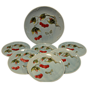 7 Piece Dessert / Salad Majolica Plate & Platter Set ~ Red Cherries & Butterflies ~. G S Zell Baden Germany 1907-1928