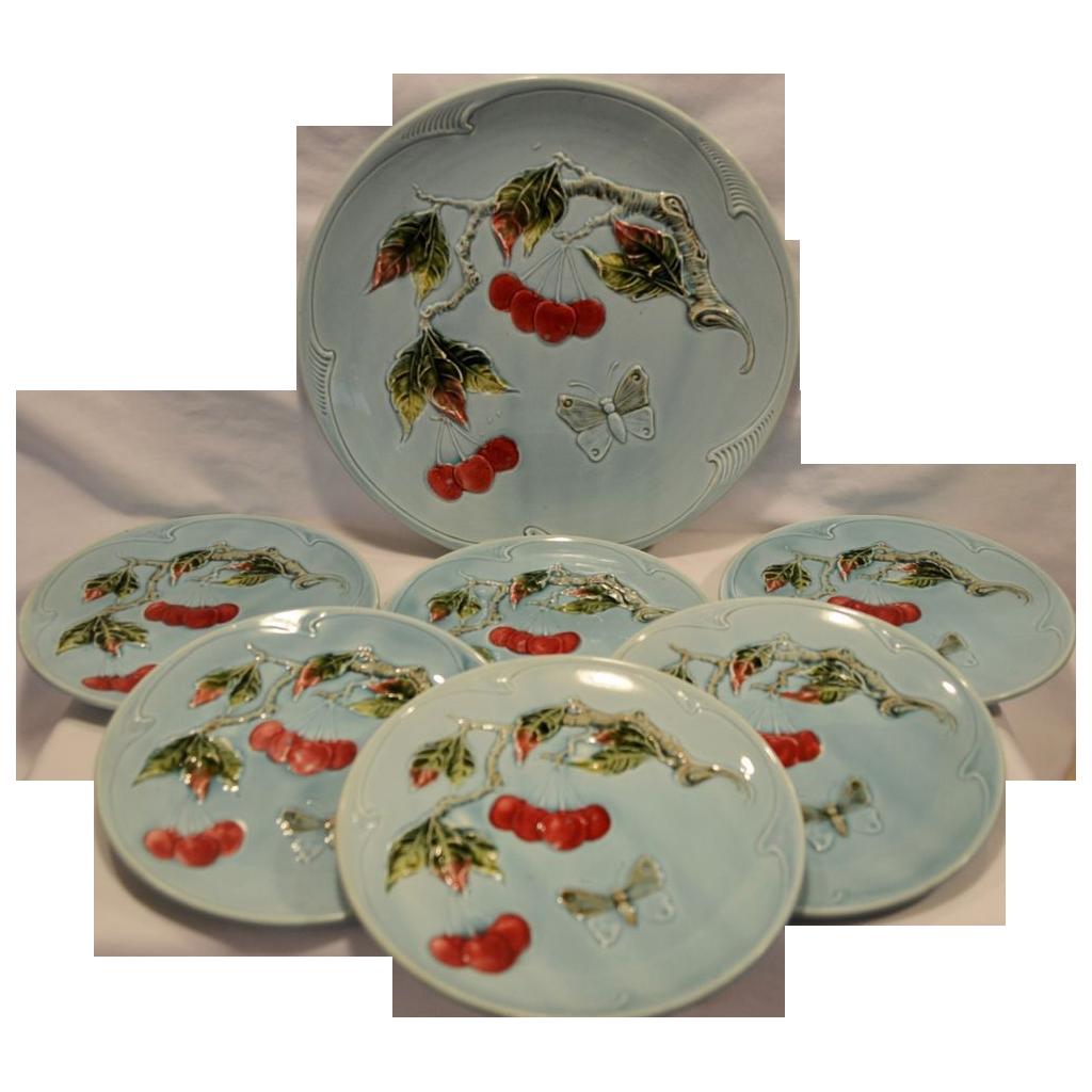 7 Piece Dessert / Salad Majolica Plate & Platter Set ~ Red Cherries & Butterflies ~. G S Zell Baden Germany 1907-1928